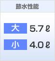 節水性能:Panasonic 大5.7L洗浄 小4.0L洗浄