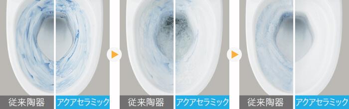 従来陶器とアクアセラミックの汚れ落ちを比較アクアセラミック