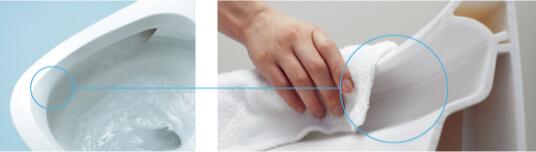 フチの拭き掃除がしやすい形状