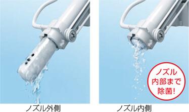 ノズルの内側と外側をキレイ除菌水で洗浄します