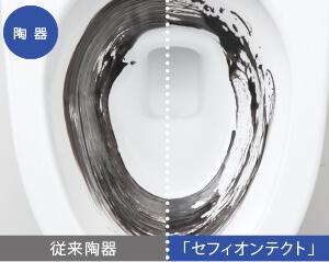 従来陶器とセフィオンテクトの汚れ落ち比較イメージ